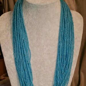 Matte Glass Seed Bead Multi-Strand Necklace